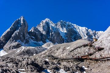 Jade Dragon Snow Mountain,Mount Yulong or Yulong Snow Mountain at Lijiang,Yunnan province,China.