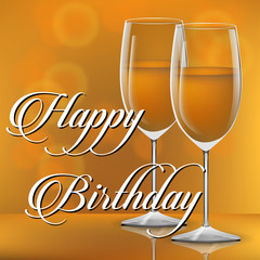 Happy Birthday design card with a bottle of vine and glass vector