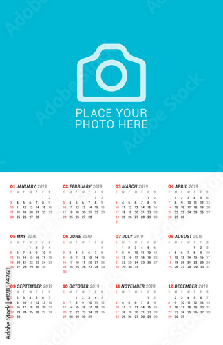 wall calendar poster for 2019 year vector print template with place