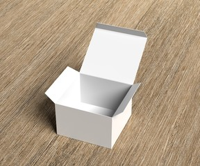 White paper empty box template. Opened box. Advertisement, media, package. 3D rendering.