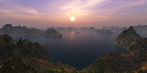 sunset over the bay among the mountains, 3D rendering