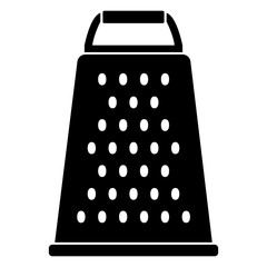 Flat, black cheese grater silhouette. Kitchen appliance silhouette. Isolated on white