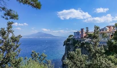 Vico Equense. Italy. Hotel Sporting. La chiesa di Santissima Annunziata, the volcano Mount Vesuvius in the background.