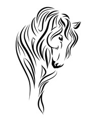 Horse looking down line art, tribal. Freehand vector illustration.