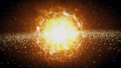 The birth of the solar system in space, a big bang 3d illustration