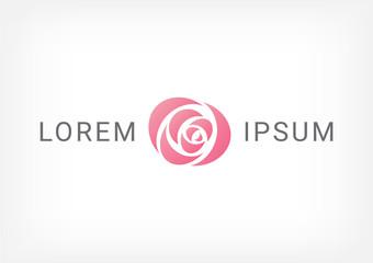 rose vector logo design template, minimal petal beauty icon, salon floral abstract sign, vector illustration