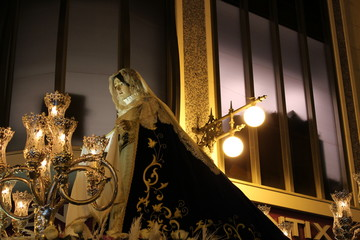 Virgin Mary in procession in Holy Week in Elche
