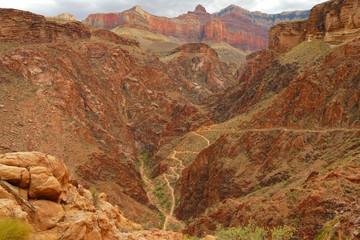 Fotobehang Canyon Hiking steep section of the Bright Angel Trail, Grand Canyon National Park, Arizona