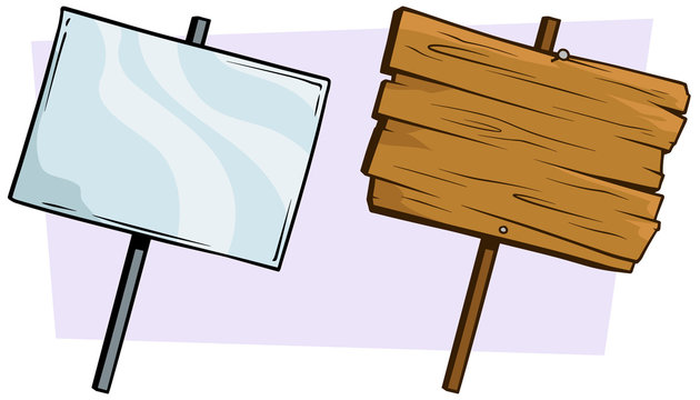 Cartoon wooden and glassy sign set