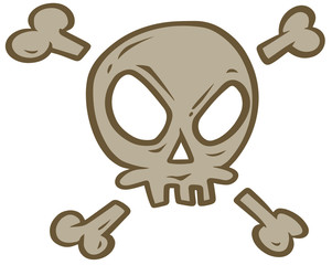 Cartoon evil skull with crossed bones