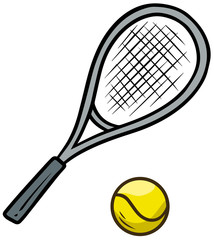 Cartoon tennis racket and yellow ball