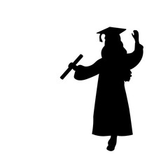 Silhouette girl graduation finished studying