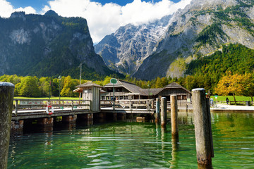 Fototapete - St. Bartholomew pier on Konigssee, known as Germany's deepest and cleanest lake, located in the extreme southeast Berchtesgadener Land district of Bavaria.