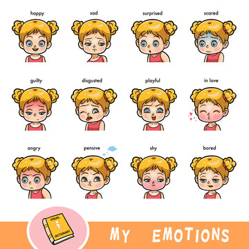 Cartoon visual dictionary for children. The human emotions