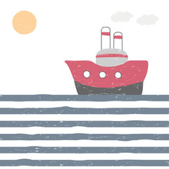 Funny doodle poster with ship. Vector hand drawn illustration.