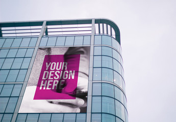Billboard on Building Façade Mockup