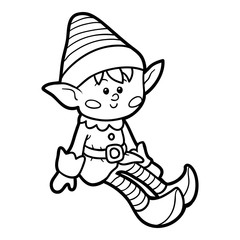 Coloring book for children, Elf
