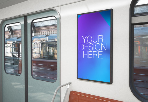 Poster Mockup on 3D Rendering Train Interior