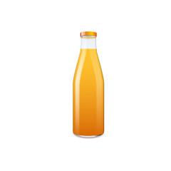Orange juice in glass bottle isolated on white background. Vector illustration