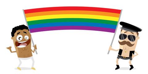 gay men with big rainbow flag