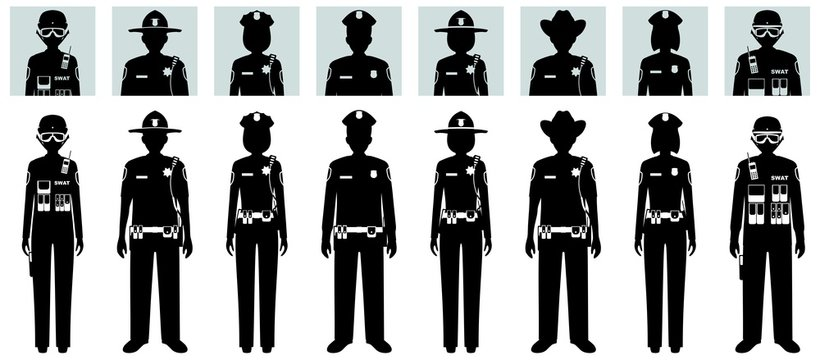 Police people concept. Set of different black silhouettes and avatars icons of SWAT officer, policeman, policewoman and sheriff in flat style on white background. Vector illustration.