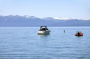 Power boats on lake Tahoe.