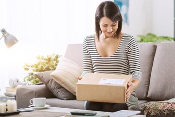 Woman receiving a parcel