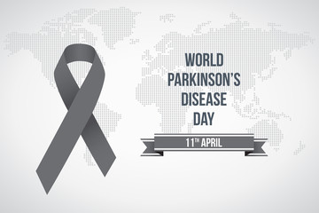 World Parkinson's disease day. April 11'th. Vector illustration. Gray awareness ribbon poster on background. Symbol of the brain disorders