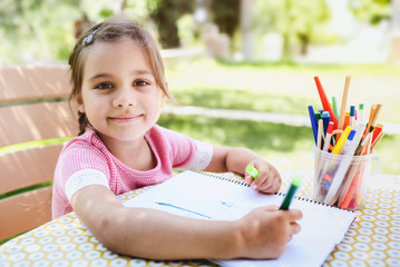 Little Girl Drawing Picture Outdoors In The Garden In Spring