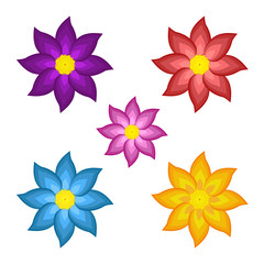 Templates of bright colored stylized flowers