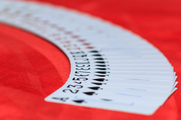 Cards spread on the poker table
