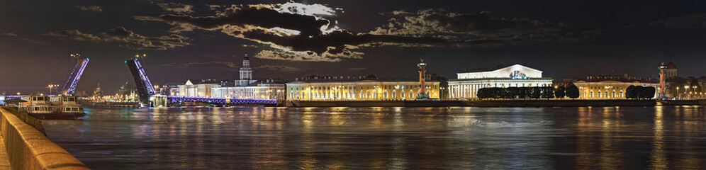 Wide-angle panorama of the night of Saint-Petersburg