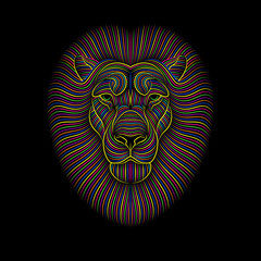 Engraving of stylized psychedelic lion on black background. Linear drawing.