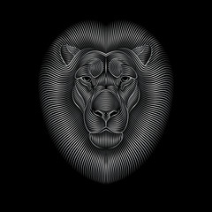 Engraving of stylized silver lion on black background