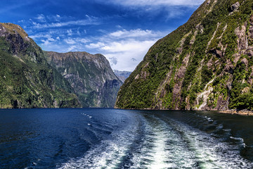 View behind the cruise ferry in Milford Sound, New Zealand