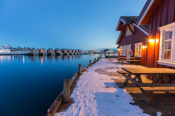 Traditional fishermans cabins at the waterside in Svolvaer, Lofoten