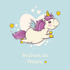 Cute postcard with flying magical unicorn on blue background with hearts.