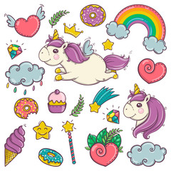 Cute set of wonderful magical elements with unicorns, candies and treasures.