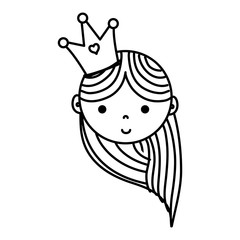 line happy woman head with crown and hairstyle