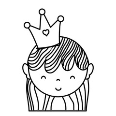 line happy woman head with haistyle and crown