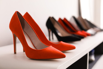 High heeled shoes on shelf in store Wall mural