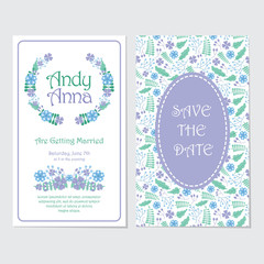 Wedding invitation card vector design template with blue and purple flowers wreath