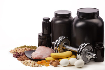 Sports nutrition and fitness equipment.