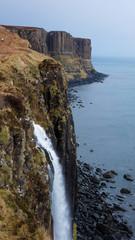 Kilt rock and waterfall in Scottish highlands, Scotland, United Kingdom