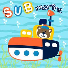 Submarine cartoon with funny captain. Eps 10