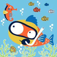 Marine life cartoon. Eps 10