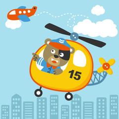 Happy pilot cartoon on helicopter. Eps 10