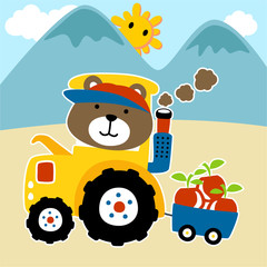 Cartoon of little farmer on tractor with harvest. Eps 10