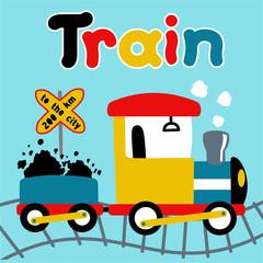 Coal train cartoon. Eps 10