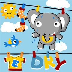 Baby elephant on clothesline at summer. Eps 10